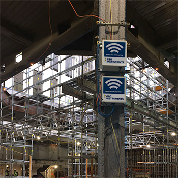 Wireless data loggers monitoring renovation of Apple store in NYC