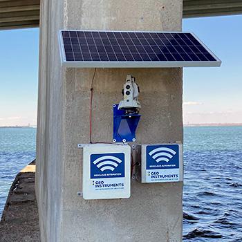 Solar-powered AMTS on bridge pier